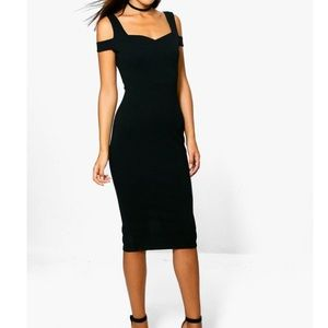 Boohoo Camilla Bardot Strap Cut Out Midi Dress